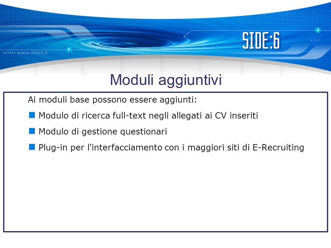 Moduli aggiuntivi Ai moduli base possono essere aggiunti: Modulo di ricerca full-text negli allegati ai CV inseriti Modulo di gestione questionari Plug-in per l interfacciamento con i maggiori siti di E-Recruiting