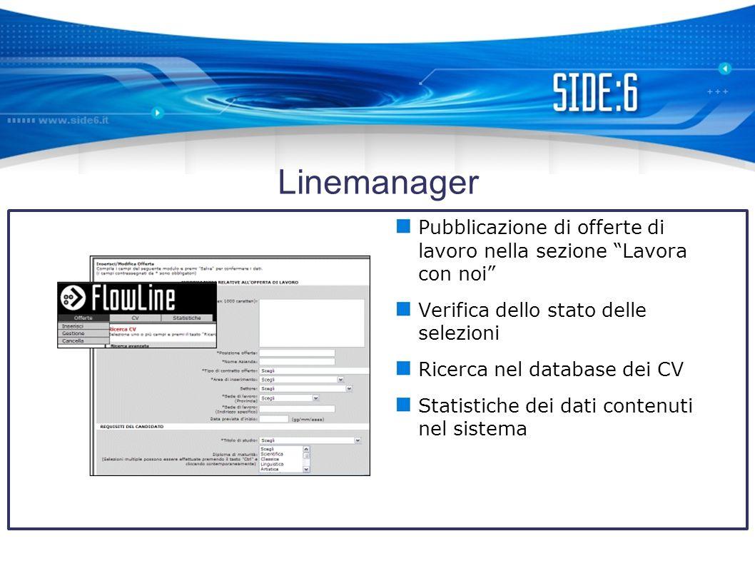 Linemanager Pubblicazione di offerte di lavoro nella sezione Lavora con noi Verifica dello stato delle selezioni Ricerca nel database dei CV Statistiche dei dati contenuti nel sistema
