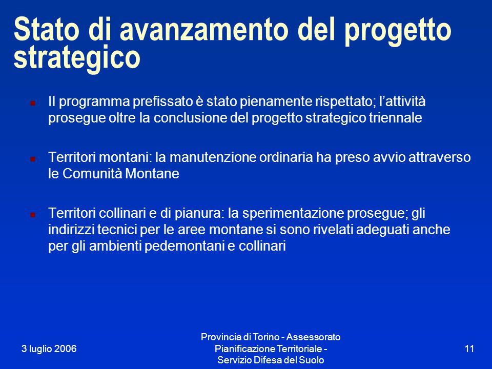 3 luglio 2006 Provincia di Torino - Assessorato Pianificazione Territoriale - Servizio Difesa del Suolo 11 Stato di avanzamento del progetto strategico Il programma prefissato è stato pienamente rispettato; l'attività prosegue oltre la conclusione del progetto strategico triennale Territori montani: la manutenzione ordinaria ha preso avvio attraverso le Comunità Montane Territori collinari e di pianura: la sperimentazione prosegue; gli indirizzi tecnici per le aree montane si sono rivelati adeguati anche per gli ambienti pedemontani e collinari