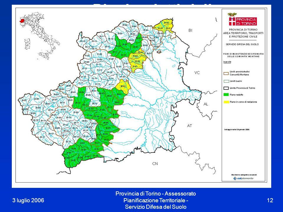 3 luglio 2006 Provincia di Torino - Assessorato Pianificazione Territoriale - Servizio Difesa del Suolo 12 Piani redatti dalle Comunità Montane al 20.01.05