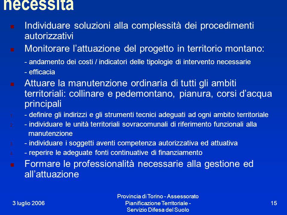 3 luglio 2006 Provincia di Torino - Assessorato Pianificazione Territoriale - Servizio Difesa del Suolo 15 necessità Individuare soluzioni alla comple
