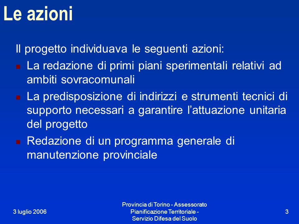 3 luglio 2006 Provincia di Torino - Assessorato Pianificazione Territoriale - Servizio Difesa del Suolo 3 Le azioni Il progetto individuava le seguent