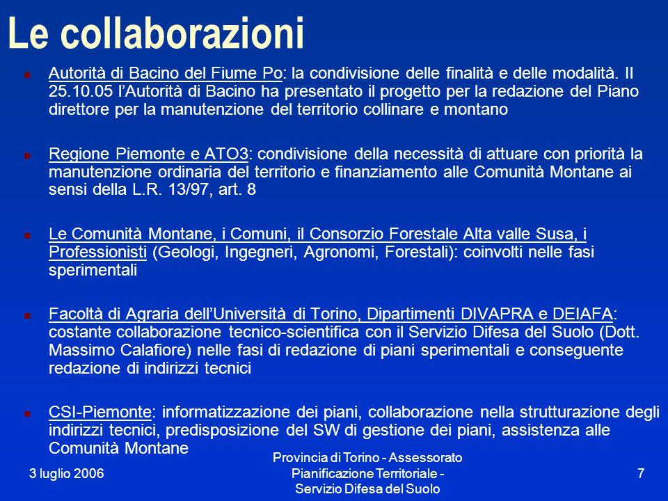 3 luglio 2006 Provincia di Torino - Assessorato Pianificazione Territoriale - Servizio Difesa del Suolo 7 Le collaborazioni Autorità di Bacino del Fiume Po: la condivisione delle finalità e delle modalità.