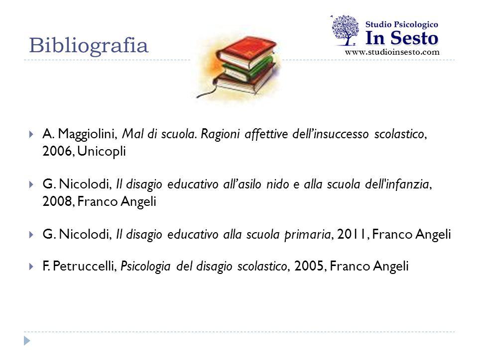 Bibliografia  A. Maggiolini, Mal di scuola. Ragioni affettive dell'insuccesso scolastico, 2006, Unicopli  G. Nicolodi, Il disagio educativo all'asil