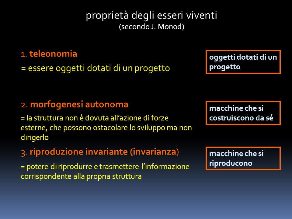 proprietà degli esseri viventi (secondo J. Monod) 1. teleonomia = essere oggetti dotati di un progetto oggetti dotati di un progetto 2. morfogenesi au