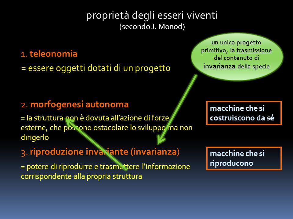 proprietà degli esseri viventi (secondo J. Monod) 1. teleonomia = essere oggetti dotati di un progetto 2. morfogenesi autonoma = la struttura non è do