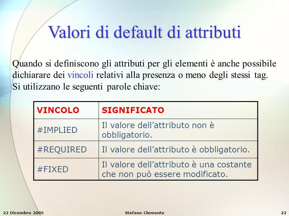 22 Dicembre 2005Stefano Clemente22 Valori di default di attributi Quando si definiscono gli attributi per gli elementi è anche possibile dichiarare de