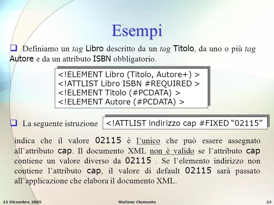 22 Dicembre 2005Stefano Clemente23 Esempi  Definiamo un tag Libro descritto da un tag Titolo, da uno o più tag Autore e da un attributo ISBN obbligat