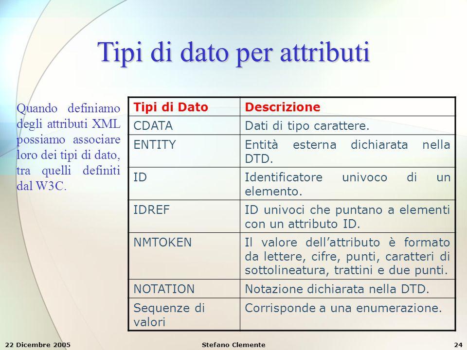 22 Dicembre 2005Stefano Clemente24 Tipi di dato per attributi Quando definiamo degli attributi XML possiamo associare loro dei tipi di dato, tra quell