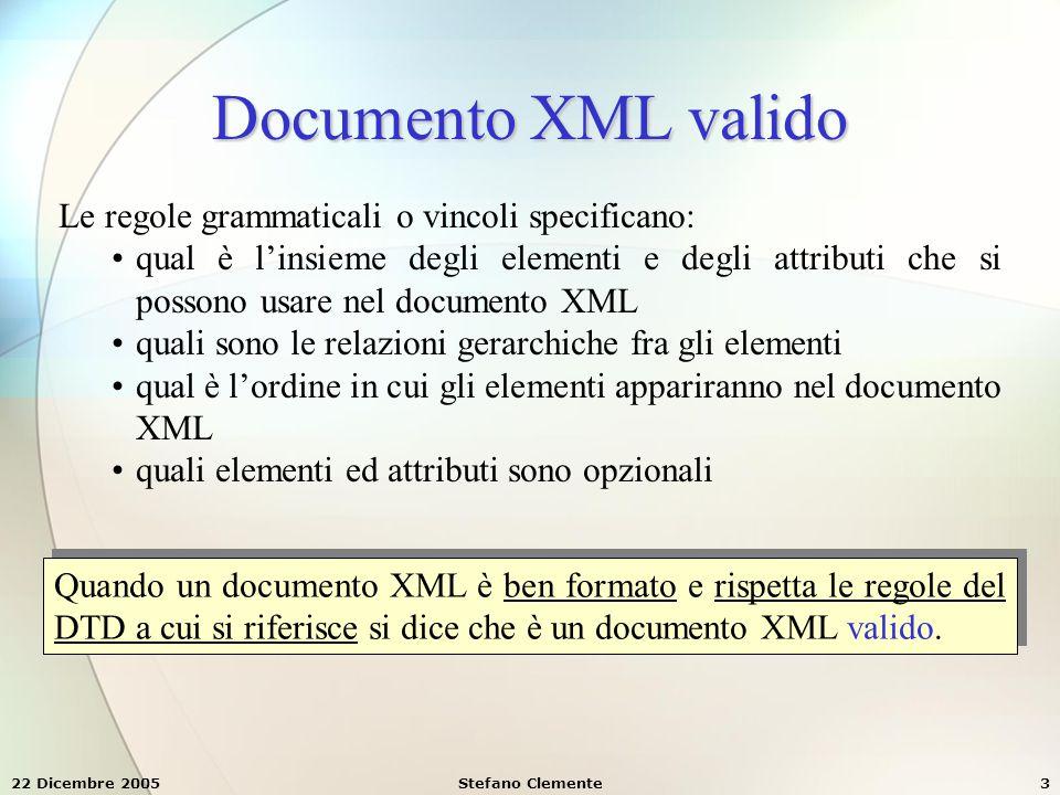 22 Dicembre 2005Stefano Clemente24 Tipi di dato per attributi Quando definiamo degli attributi XML possiamo associare loro dei tipi di dato, tra quelli definiti dal W3C.