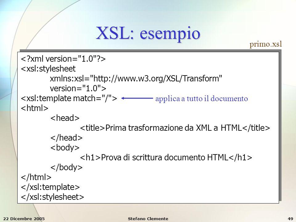 22 Dicembre 2005Stefano Clemente49 XSL: esempio <xsl:stylesheet xmlns:xsl=