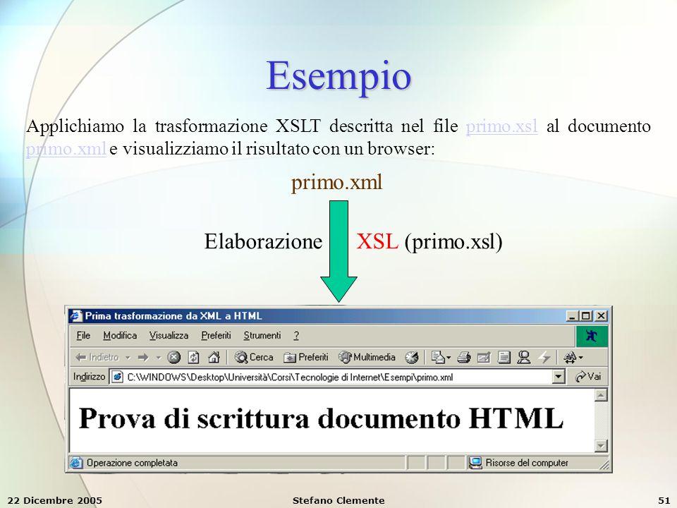 22 Dicembre 2005Stefano Clemente51 Esempio primo.xml Applichiamo la trasformazione XSLT descritta nel file primo.xsl al documento primo.xml e visualiz