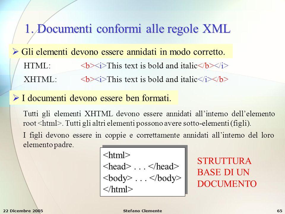 22 Dicembre 2005Stefano Clemente65 1. Documenti conformi alle regole XML  Gli elementi devono essere annidati in modo corretto. HTML: This text is bo