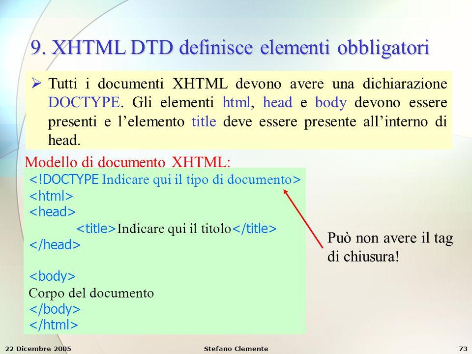 22 Dicembre 2005Stefano Clemente73 9. XHTML DTD definisce elementi obbligatori  Tutti i documenti XHTML devono avere una dichiarazione DOCTYPE. Gli e