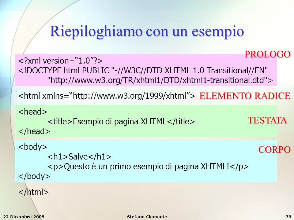 22 Dicembre 2005Stefano Clemente78 Riepiloghiamo con un esempio <!DOCTYPE html PUBLIC
