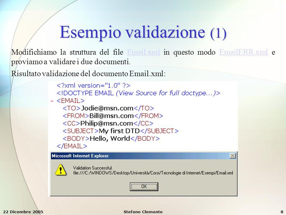 22 Dicembre 2005Stefano Clemente19 Definizione di attributi (1) Per definire gli attributi di un documento XML si usa il comando ATTLIST, secondo la seguente sintassi: dove:  elemento è il nome del tag del quale stiamo definendo l'attributo  nome_attributo è ovviamente il nome dell'attributo  tipo è la definizione del tipo di valore associato all'attributo  valore_default è un eventuale valore di default (predefinito)