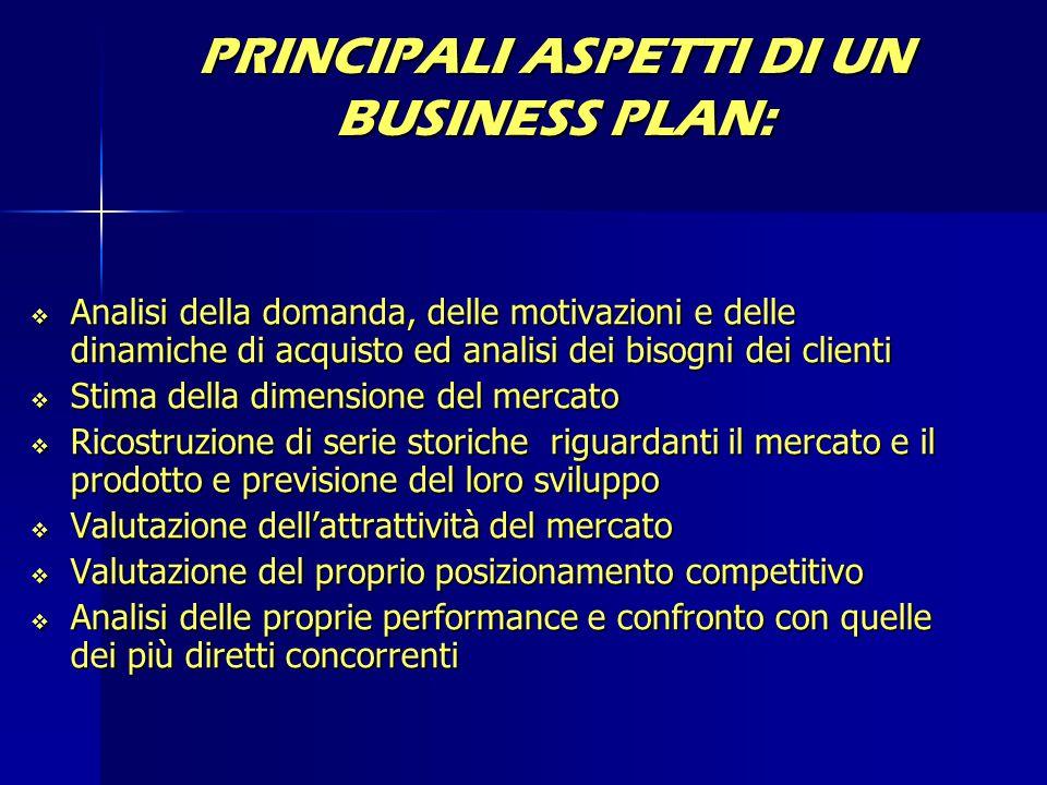 PRINCIPALI ASPETTI DI UN BUSINESS PLAN:  Analisi della domanda, delle motivazioni e delle dinamiche di acquisto ed analisi dei bisogni dei clienti 