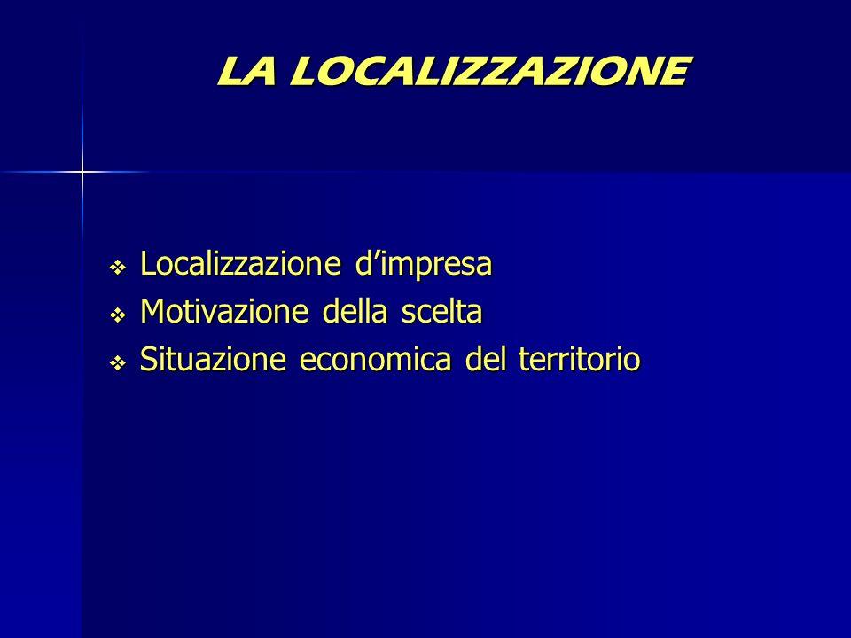 LA LOCALIZZAZIONE  Localizzazione d'impresa  Motivazione della scelta  Situazione economica del territorio