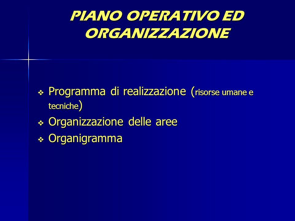 PIANO OPERATIVO ED ORGANIZZAZIONE  Programma di realizzazione ( risorse umane e tecniche )  Organizzazione delle aree  Organigramma