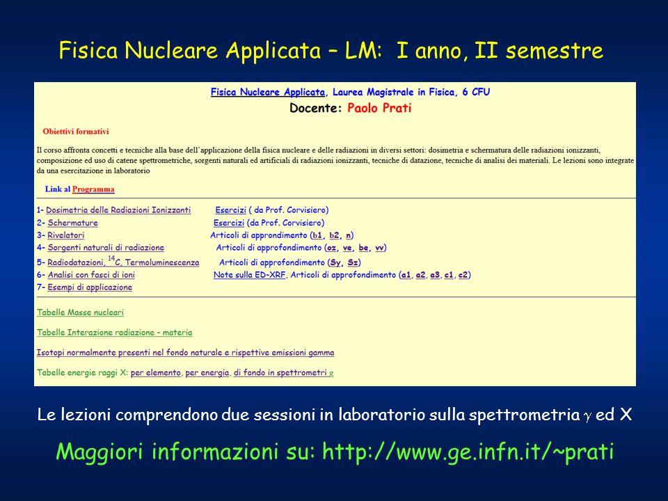 Fisica Nucleare Applicata – LM: I anno, II semestre Maggiori informazioni su: http://www.ge.infn.it/~prati Le lezioni comprendono due sessioni in laboratorio sulla spettrometria  ed X