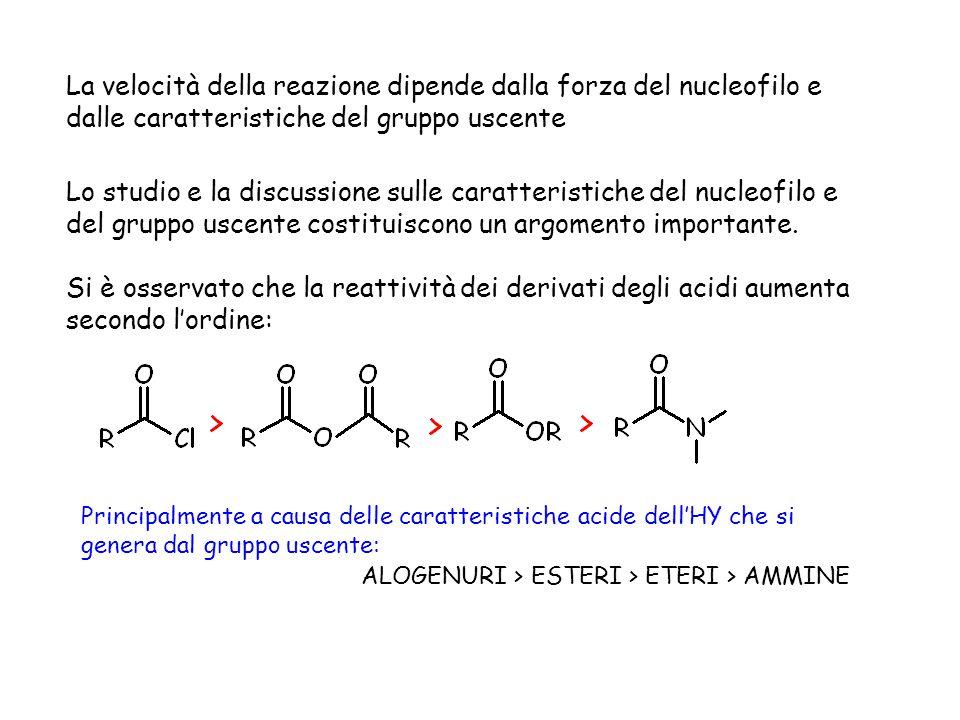 La velocità della reazione dipende dalla forza del nucleofilo e dalle caratteristiche del gruppo uscente Lo studio e la discussione sulle caratteristi