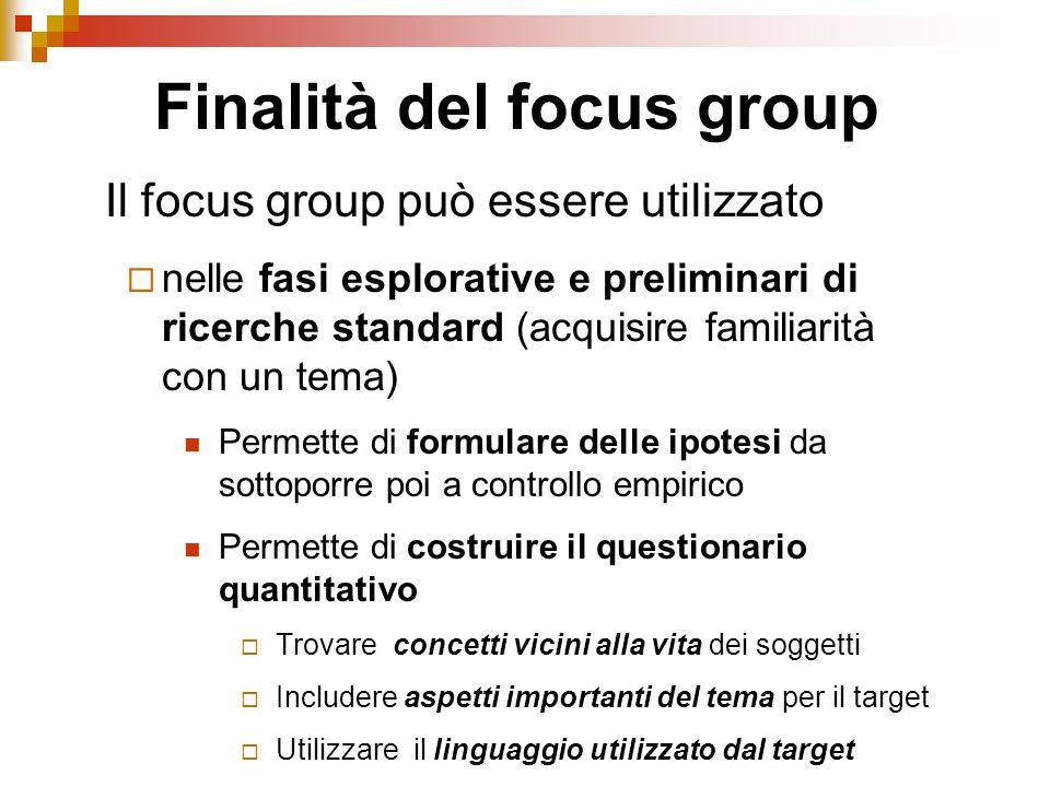 Il focus group può essere utilizzato  nelle fasi esplorative e preliminari di ricerche standard (acquisire familiarità con un tema) Permette di formu