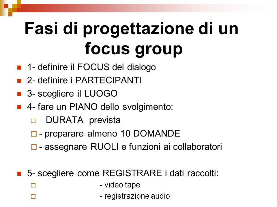 1- definire il FOCUS del dialogo 2- definire i PARTECIPANTI 3- scegliere il LUOGO 4- fare un PIANO dello svolgimento:  - DURATA prevista  - preparare almeno 10 DOMANDE  - assegnare RUOLI e funzioni ai collaboratori 5- scegliere come REGISTRARE i dati raccolti:  - video tape  - registrazione audio Fasi di progettazione di un focus group