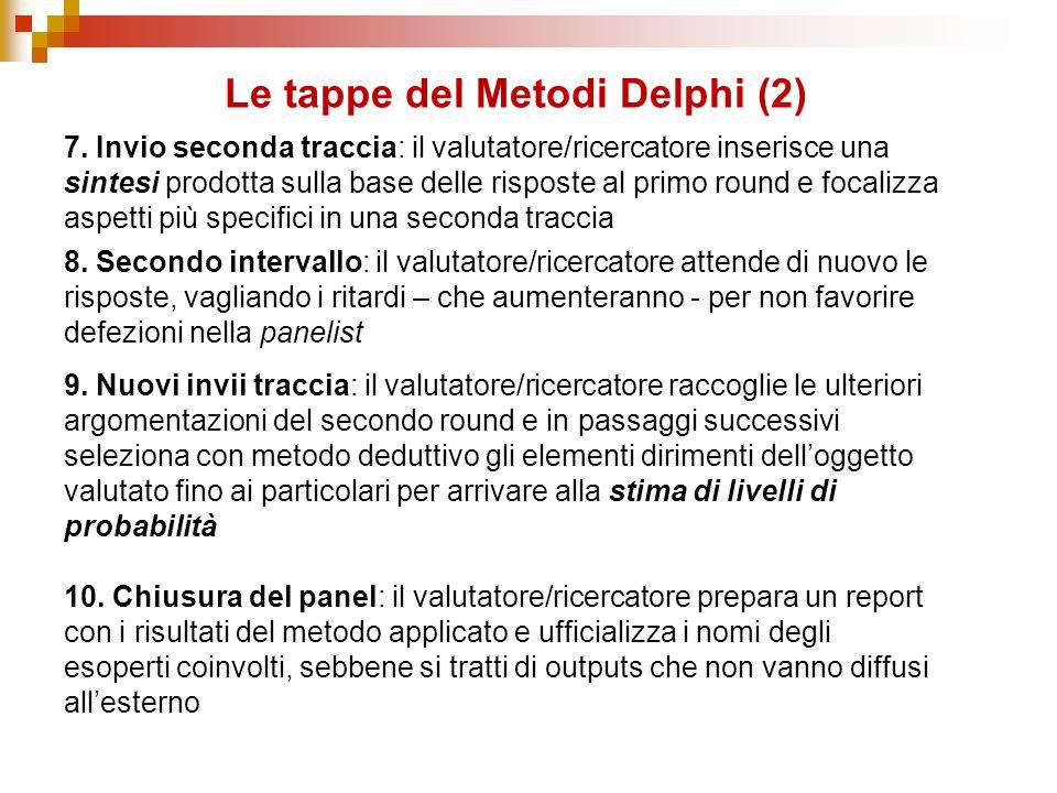 Le tappe del Metodi Delphi (2) 7. Invio seconda traccia: il valutatore/ricercatore inserisce una sintesi prodotta sulla base delle risposte al primo r