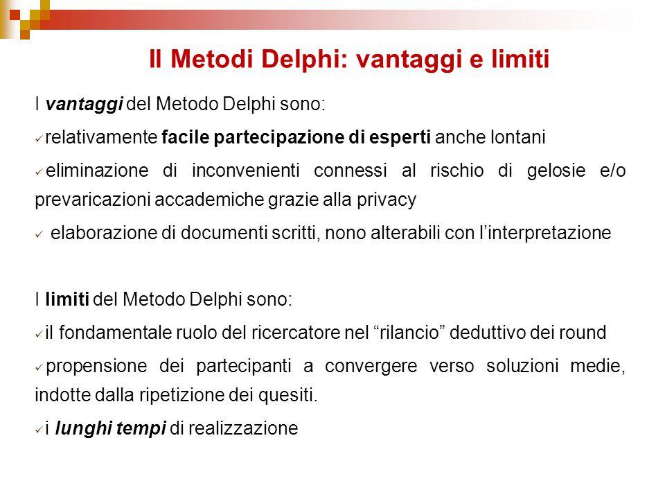 I vantaggi del Metodo Delphi sono: relativamente facile partecipazione di esperti anche lontani eliminazione di inconvenienti connessi al rischio di g