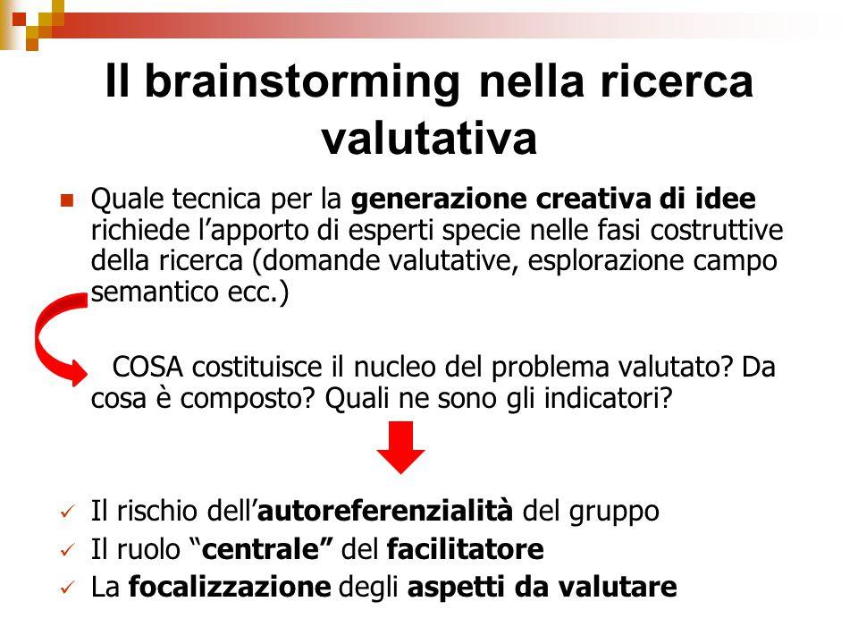Il brainstorming nella ricerca valutativa Quale tecnica per la generazione creativa di idee richiede l'apporto di esperti specie nelle fasi costruttive della ricerca (domande valutative, esplorazione campo semantico ecc.) COSA costituisce il nucleo del problema valutato.