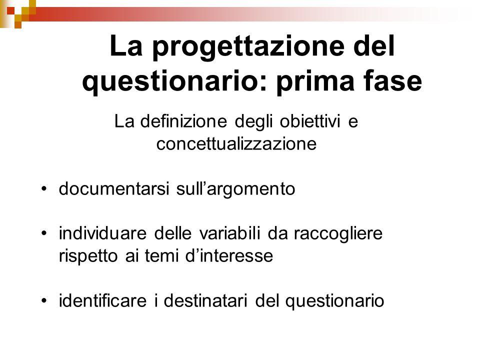 La progettazione del questionario: prima fase La definizione degli obiettivi e concettualizzazione documentarsi sull'argomento individuare delle varia