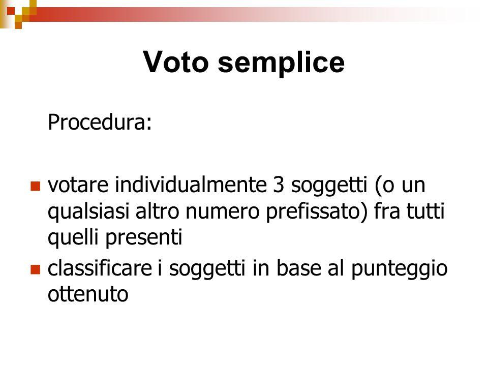 Voto semplice Procedura: votare individualmente 3 soggetti (o un qualsiasi altro numero prefissato) fra tutti quelli presenti classificare i soggetti in base al punteggio ottenuto
