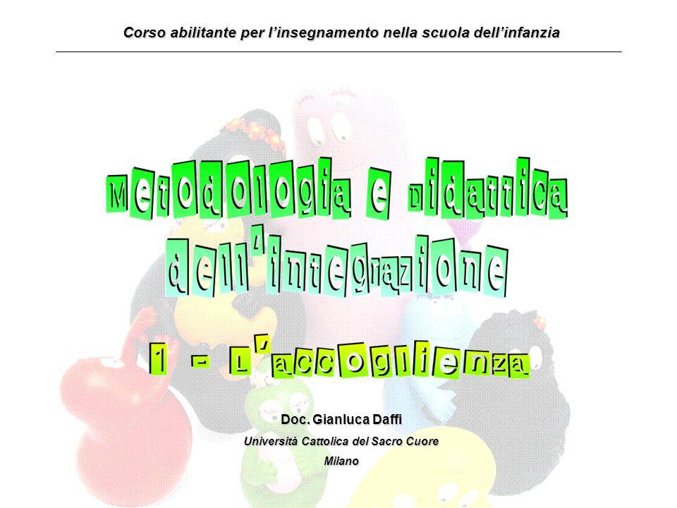 Corso abilitante per l'insegnamento nella scuola dell'infanzia Doc. Gianluca Daffi Università Cattolica del Sacro Cuore Milano
