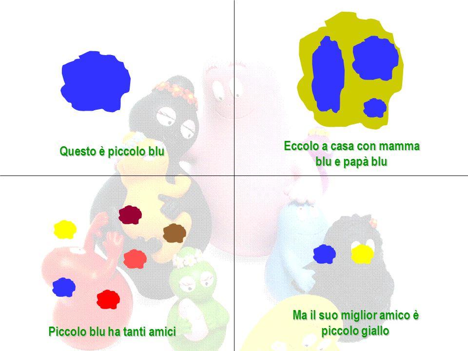 Questo è piccolo blu Eccolo a casa con mamma blu e papà blu Piccolo blu ha tanti amici Ma il suo miglior amico è piccolo giallo