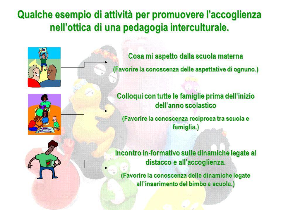 Qualche esempio di attività per promuovere l'accoglienza nell'ottica di una pedagogia interculturale. Cosa mi aspetto dalla scuola materna (Favorire l