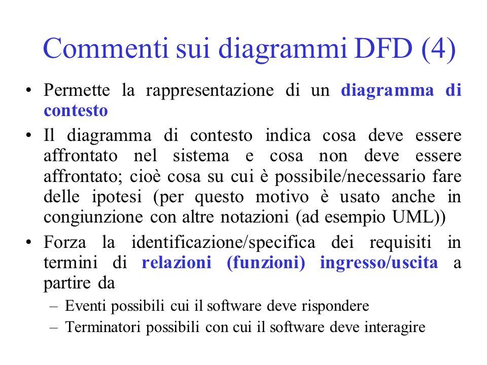 Commenti sui diagrammi DFD (4) Permette la rappresentazione di un diagramma di contesto Il diagramma di contesto indica cosa deve essere affrontato nel sistema e cosa non deve essere affrontato; cioè cosa su cui è possibile/necessario fare delle ipotesi (per questo motivo è usato anche in congiunzione con altre notazioni (ad esempio UML)) Forza la identificazione/specifica dei requisiti in termini di relazioni (funzioni) ingresso/uscita a partire da –Eventi possibili cui il software deve rispondere –Terminatori possibili con cui il software deve interagire