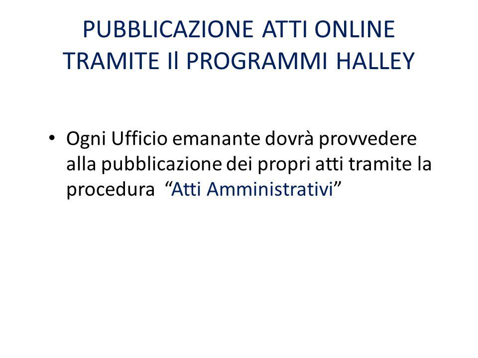 """PUBBLICAZIONE ATTI ONLINE TRAMITE Il PROGRAMMI HALLEY Ogni Ufficio emanante dovrà provvedere alla pubblicazione dei propri atti tramite la procedura """""""