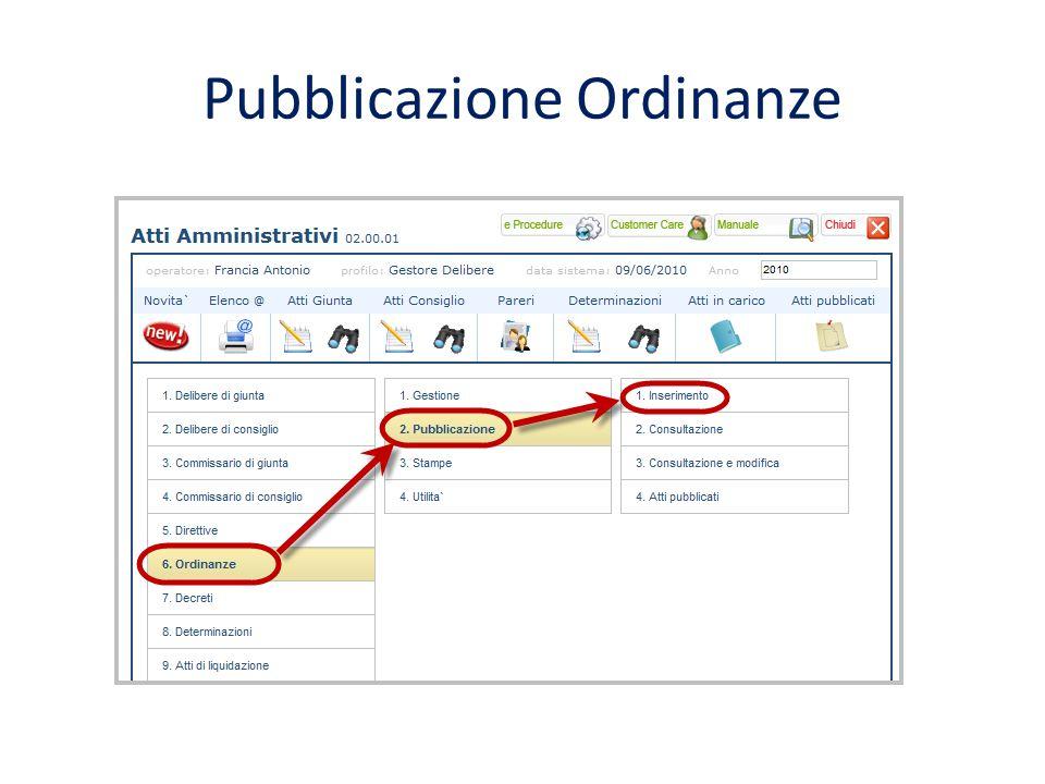 Pubblicazione Ordinanze