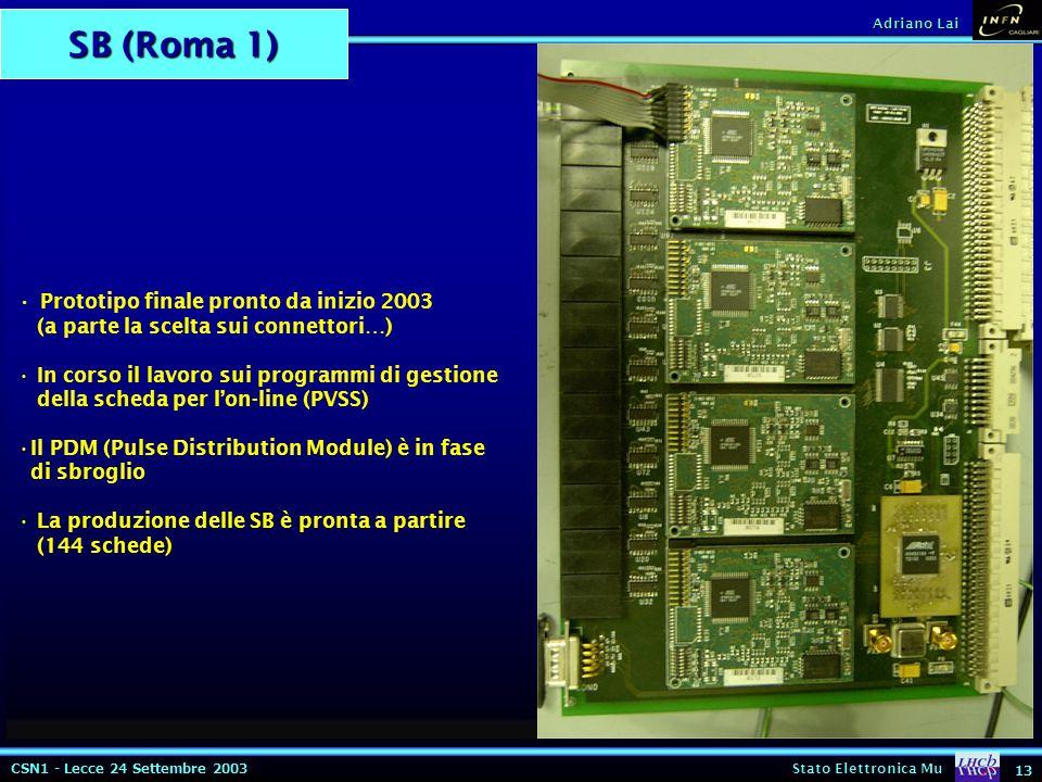 CSN1 - Lecce 24 Settembre 2003 Stato Elettronica Mu 13 Adriano Lai SB (Roma 1) ELMB CANBUS CLK40 BC Pulse Test/pulse SCL SDA_IN SDA_OUT Test/Pulse RESET ttl/lvds converter ELMB Test/pulse ELMB Test/pulse ELMB Test/pulse 3x LVDS I2c each ELMB test pulse logic 1 2 3 1 2 3 1 2 3 1 2 3 Prototipo finale pronto da inizio 2003 (a parte la scelta sui connettori…) In corso il lavoro sui programmi di gestione della scheda per l'on-line (PVSS) Il PDM (Pulse Distribution Module) è in fase di sbroglio La produzione delle SB è pronta a partire (144 schede)