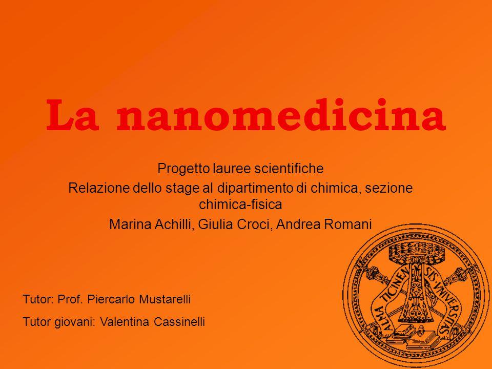 La nanomedicina Progetto lauree scientifiche Relazione dello stage al dipartimento di chimica, sezione chimica-fisica Marina Achilli, Giulia Croci, An