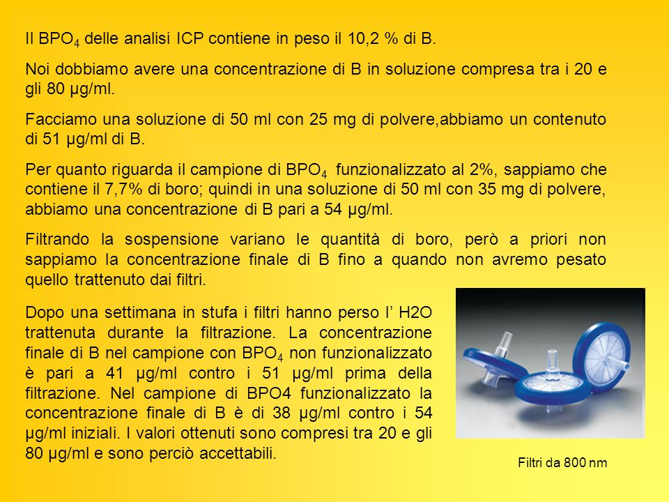 Il BPO 4 delle analisi ICP contiene in peso il 10,2 % di B. Noi dobbiamo avere una concentrazione di B in soluzione compresa tra i 20 e gli 80 μg/ml.