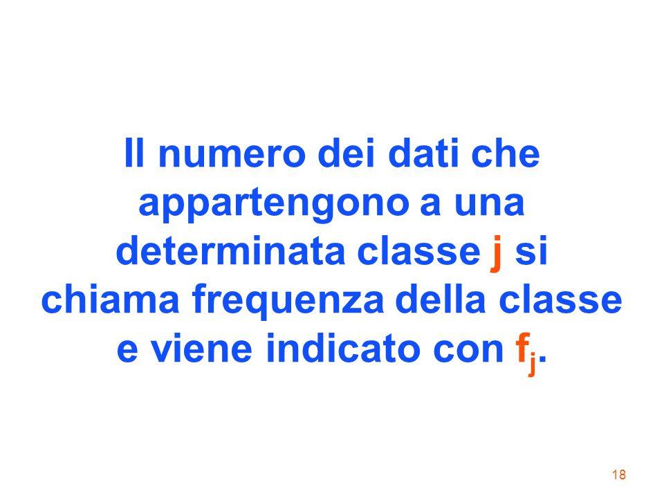 18 Il numero dei dati che appartengono a una determinata classe j si chiama frequenza della classe e viene indicato con f j.