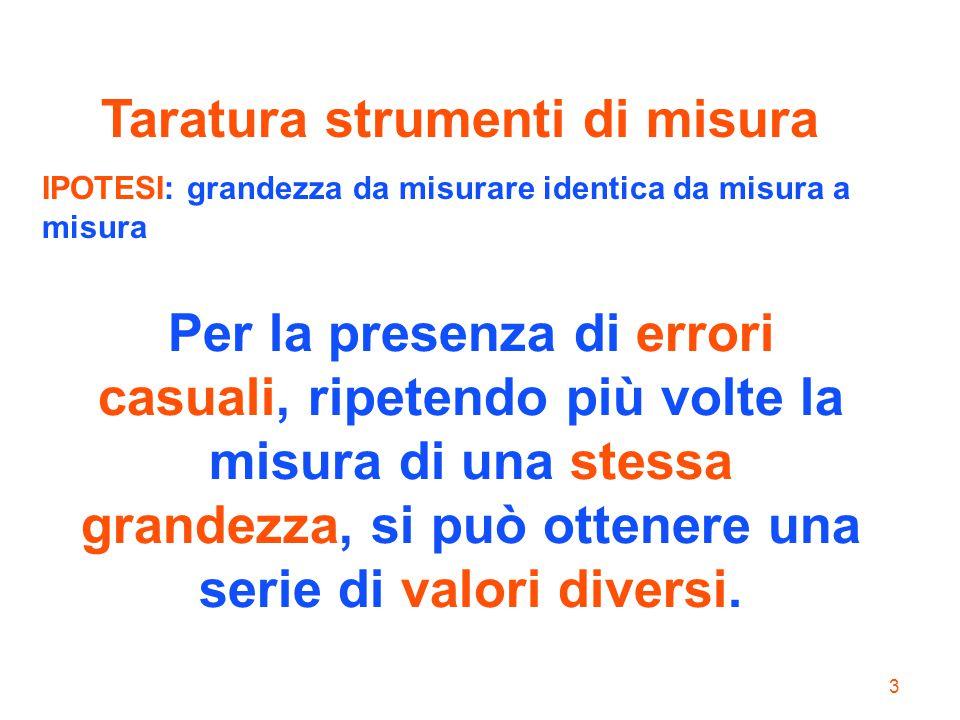 3 Per la presenza di errori casuali, ripetendo più volte la misura di una stessa grandezza, si può ottenere una serie di valori diversi. Taratura stru