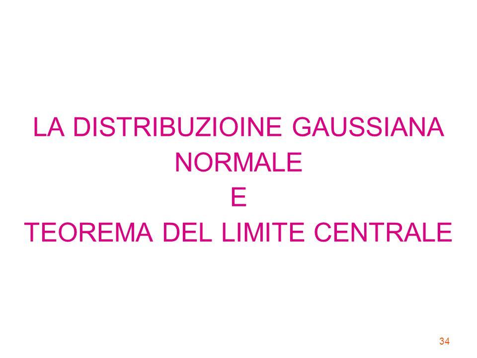 34 LA DISTRIBUZIOINE GAUSSIANA NORMALE E TEOREMA DEL LIMITE CENTRALE