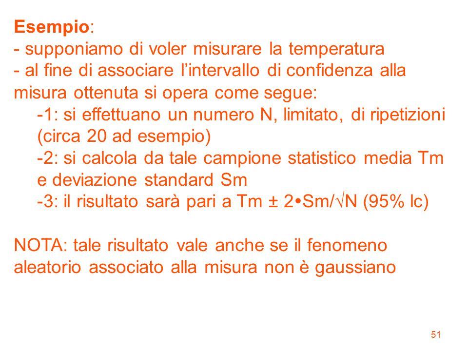 51 Esempio: - supponiamo di voler misurare la temperatura - al fine di associare l'intervallo di confidenza alla misura ottenuta si opera come segue: