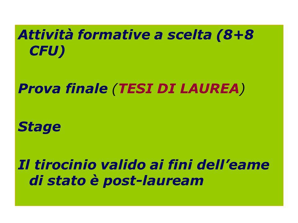 Attività formative a scelta (8+8 CFU) Prova finale (TESI DI LAUREA) Stage Il tirocinio valido ai fini dell'eame di stato è post-lauream