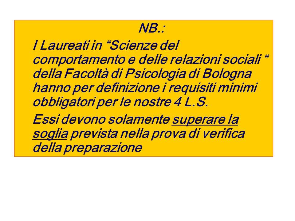 NB.: I Laureati in Scienze del comportamento e delle relazioni sociali della Facoltà di Psicologia di Bologna hanno per definizione i requisiti minimi obbligatori per le nostre 4 L.S.