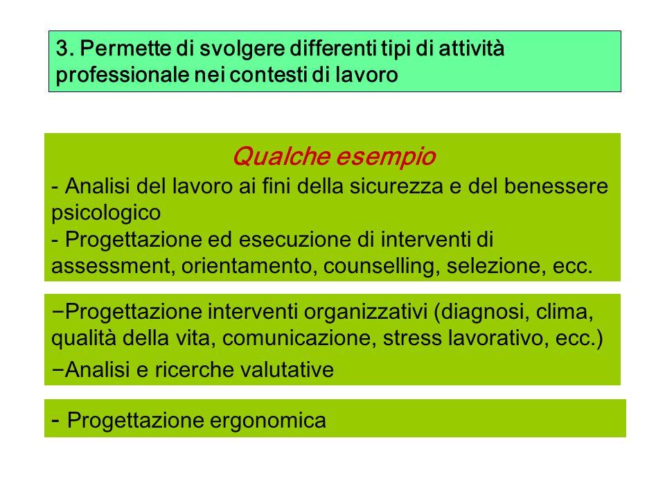 3. Permette di svolgere differenti tipi di attività professionale nei contesti di lavoro Qualche esempio - Analisi del lavoro ai fini della sicurezza