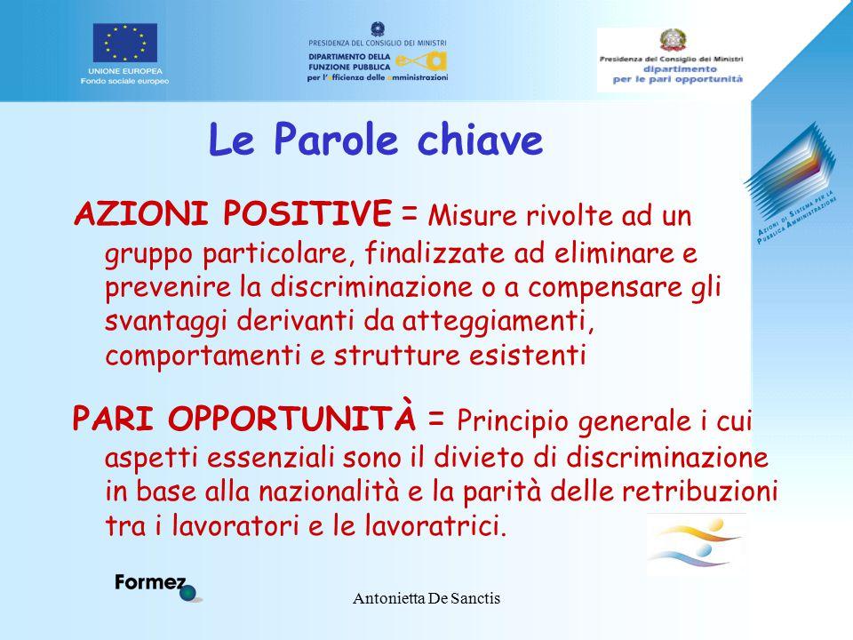 Antonietta De Sanctis Le Parole chiave AZIONI POSITIVE = Misure rivolte ad un gruppo particolare, finalizzate ad eliminare e prevenire la discriminazi