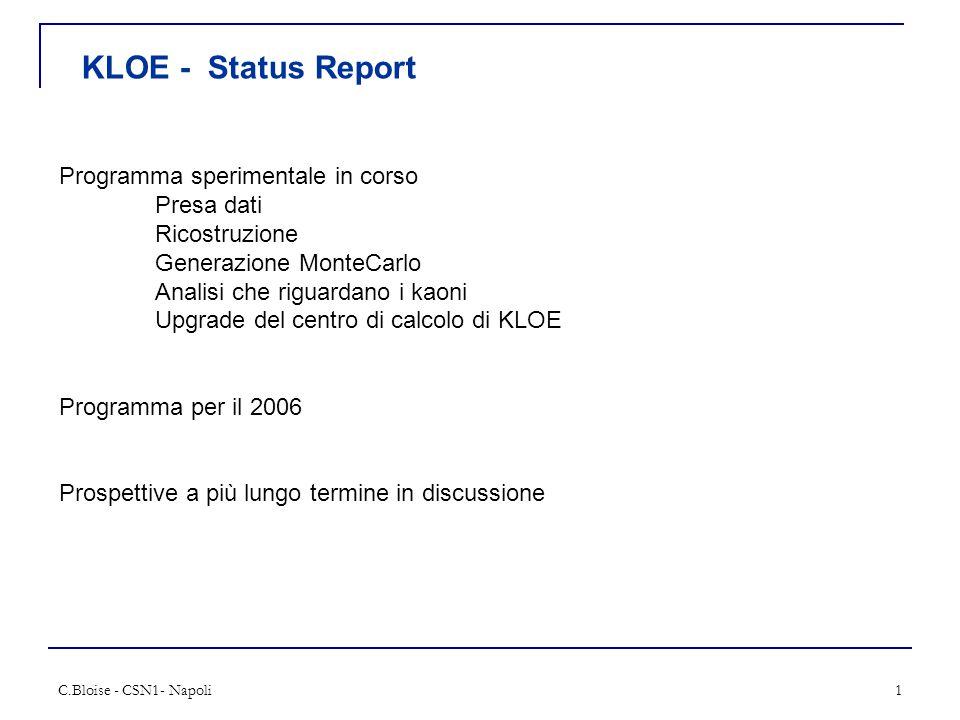 C.Bloise - CSN1- Napoli1 KLOE - Status Report Programma sperimentale in corso Presa dati Ricostruzione Generazione MonteCarlo Analisi che riguardano i kaoni Upgrade del centro di calcolo di KLOE Programma per il 2006 Prospettive a più lungo termine in discussione